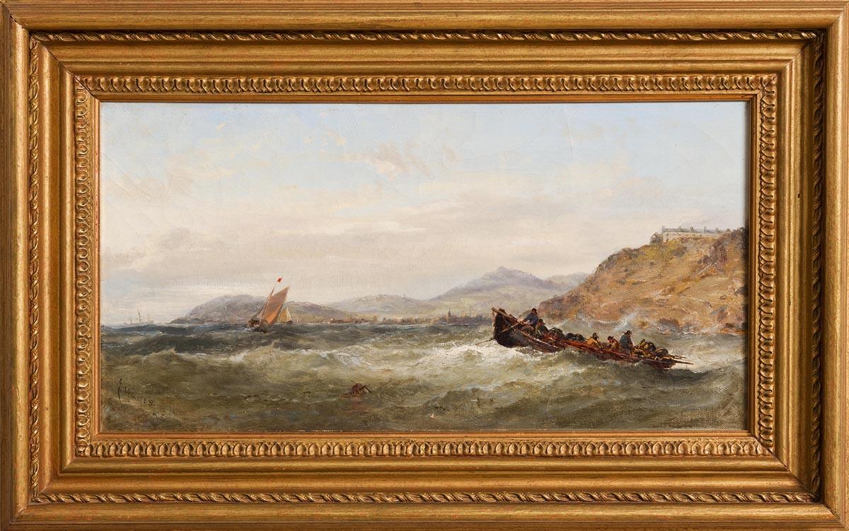 Lot 24 - Edwin Hayes RHA RI (1820-1904) Battling the Swell (1875)