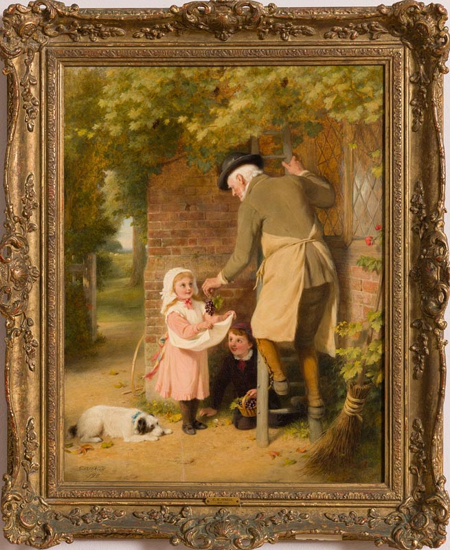 Lot 23 - George Bernard O'Neill (1828-1917) Picking Grapes (1898)