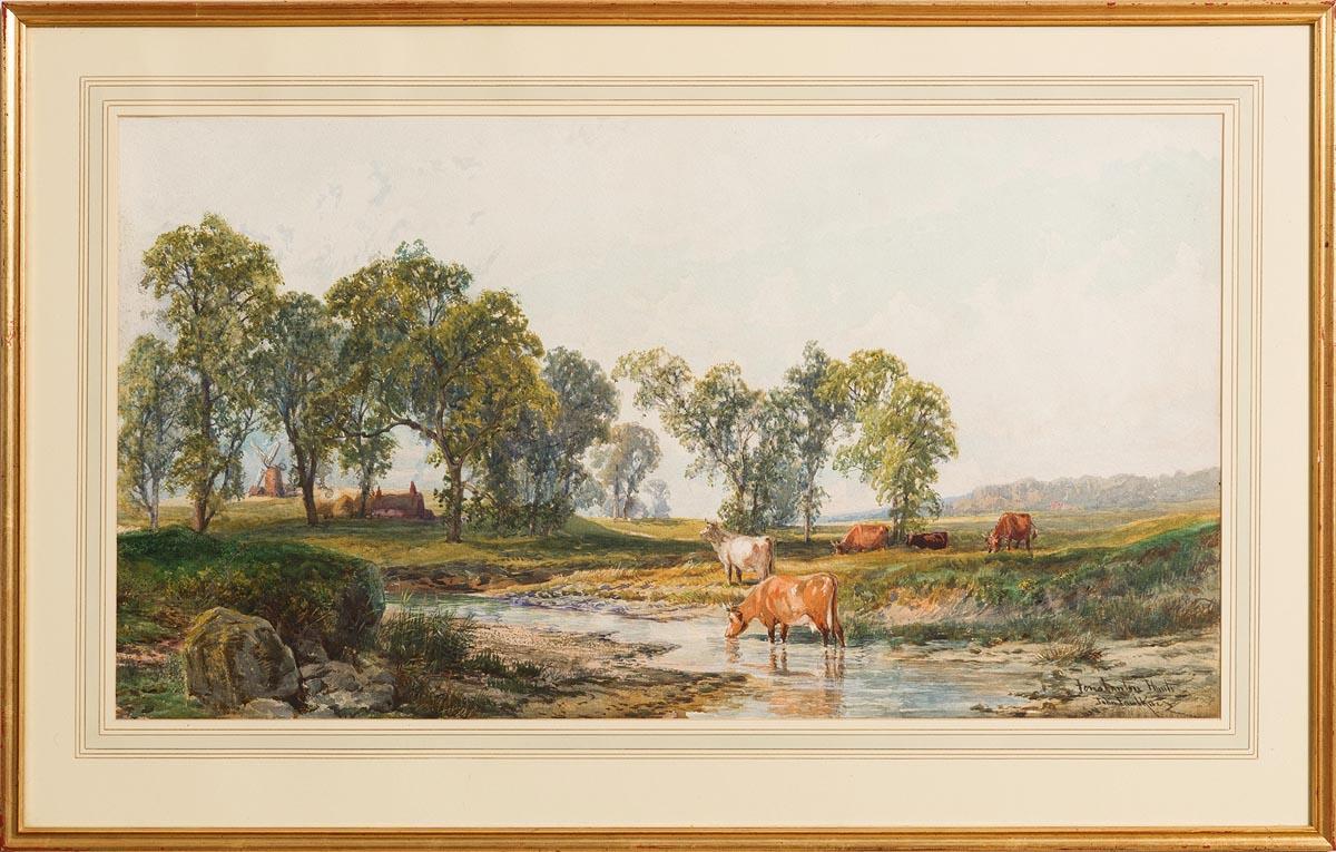 Lot 27 - John Faulkner RHA (1835-1894) Cattle Watering at a Stream