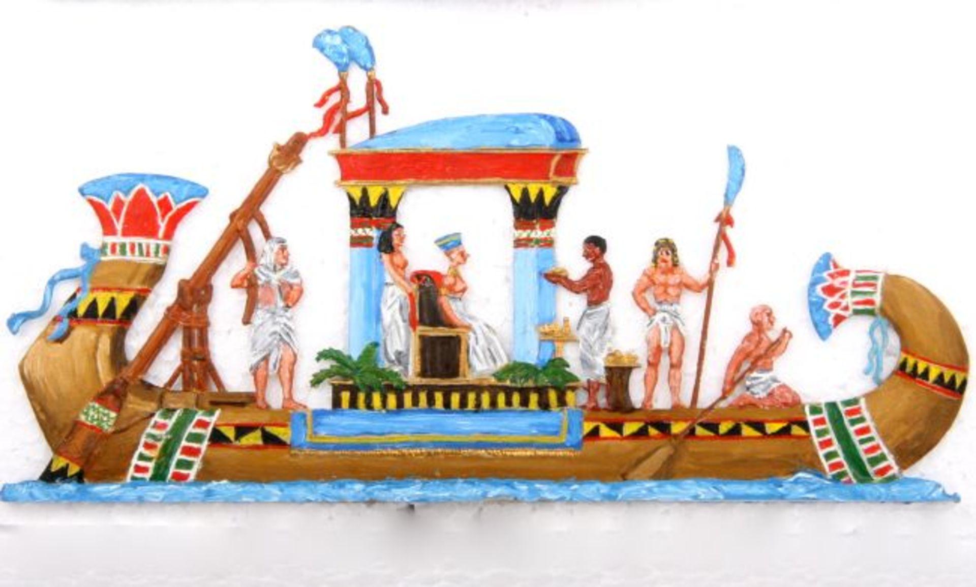 Altertum, Ägypten, Nil-Barke mit Nofretete, Höhe ca. 9 cm, Tylinski, sehr gute, schattierte