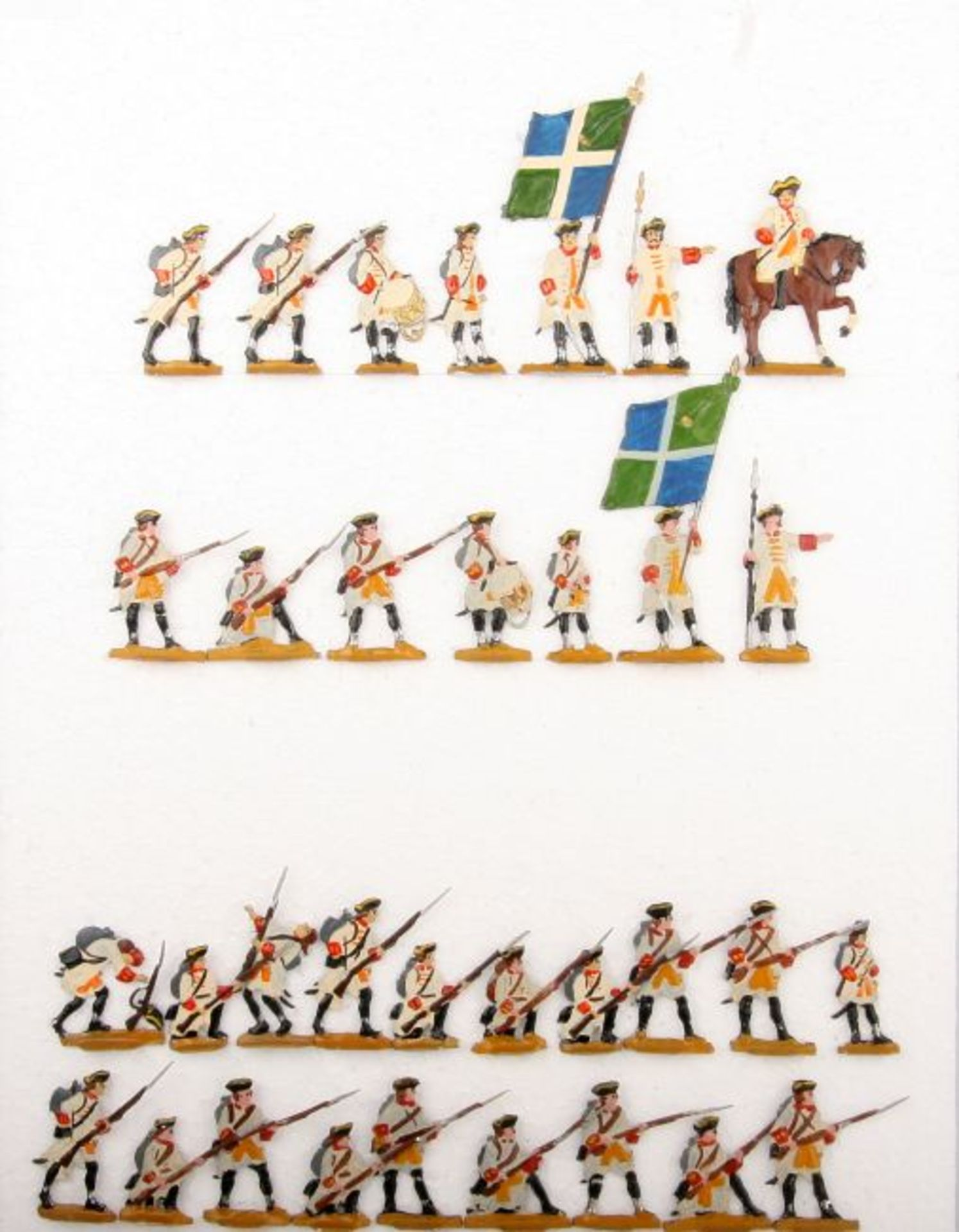 Frankreich um 1760, Infanterie-Regiment La Marine, Musketiere im Karree, Kieler Zinnfiguren,