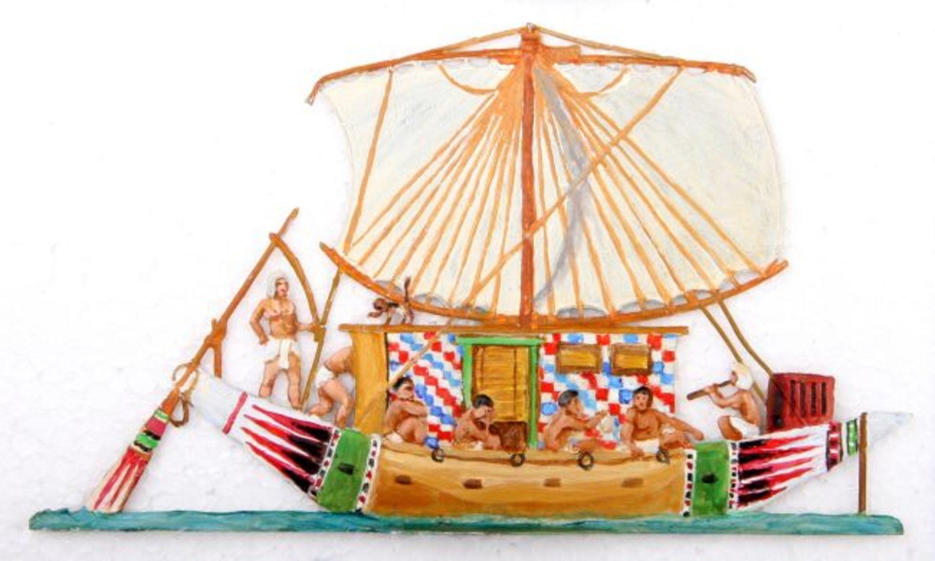 Altertum, Ägypten, Nil-Barke unter Segel, Höhe ca. 10 cm, Tylinski, gute, schattierte Bemalung, 1