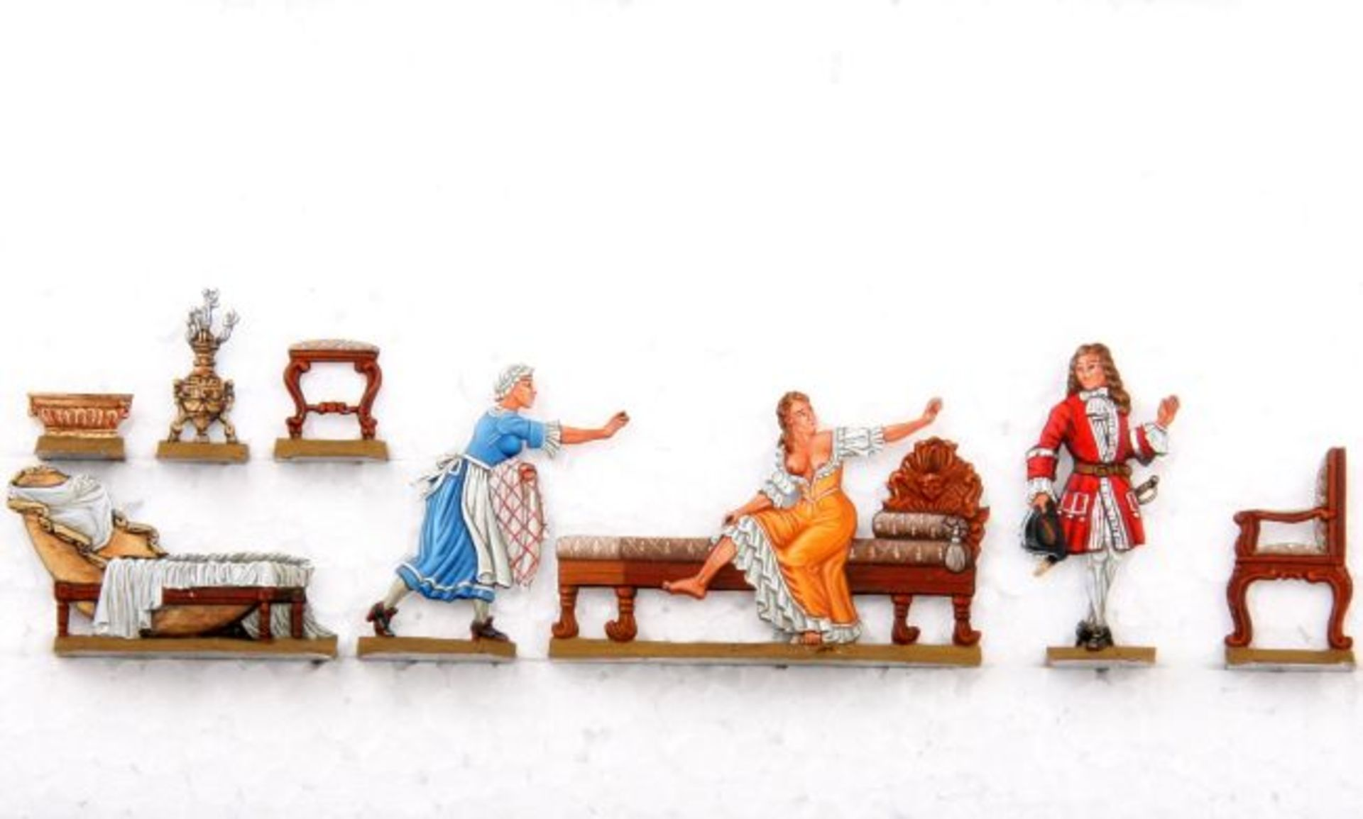 Rokoko, Morgentoilette, Scholtz, hervorragende, einseitige Bemalung von v. Hofe, 8 Figuren, flache