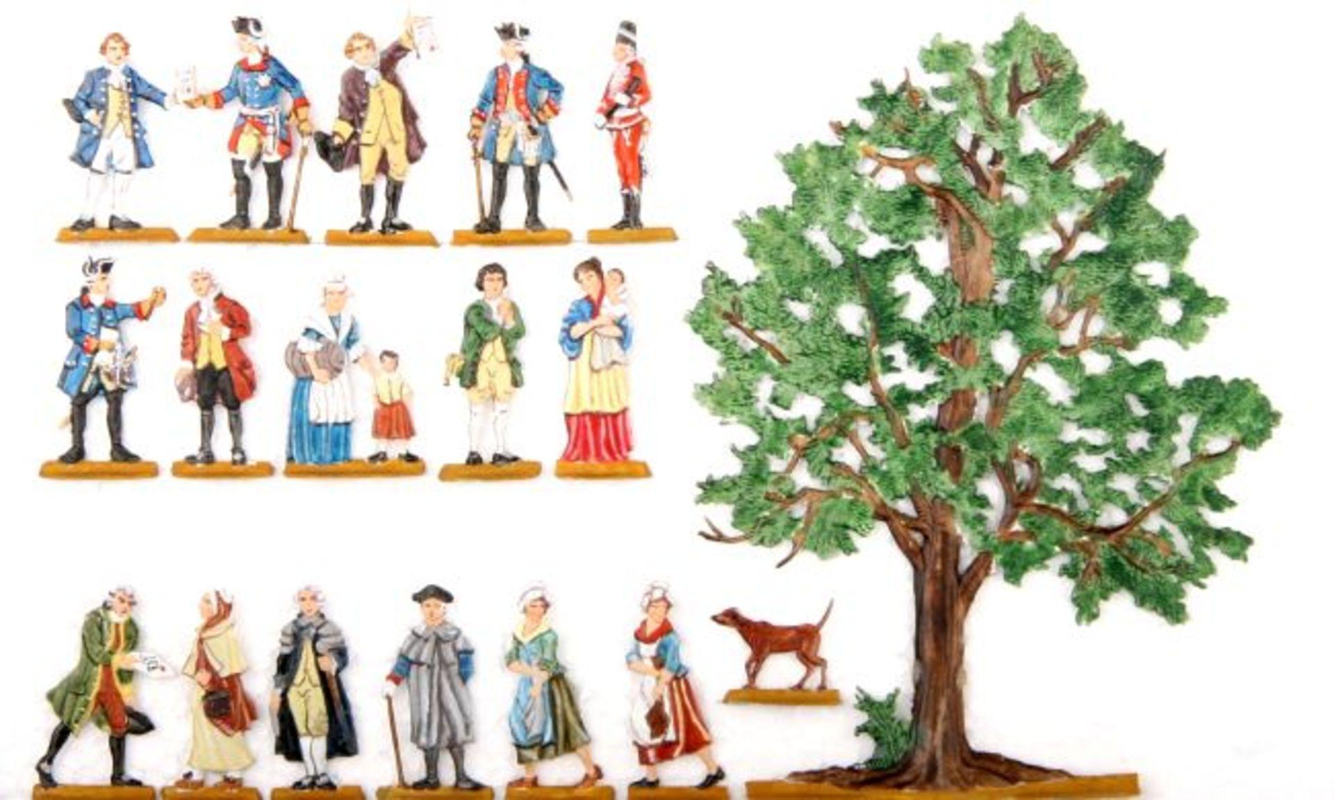 Preußen um 1760, die Bittschriftenlinde, Scholtz sehr gute, leicht schattierte Bemalung, 18 Figuren,