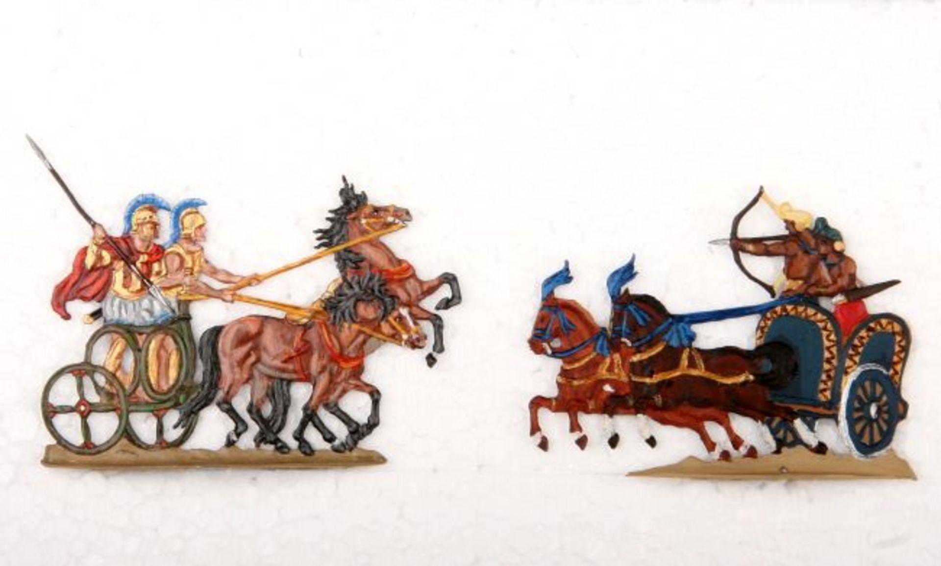 Altertum, 1 griechischer Streitwagen, 1 indischer Streitwagen, Neckel und Kiel, gute und sehr
