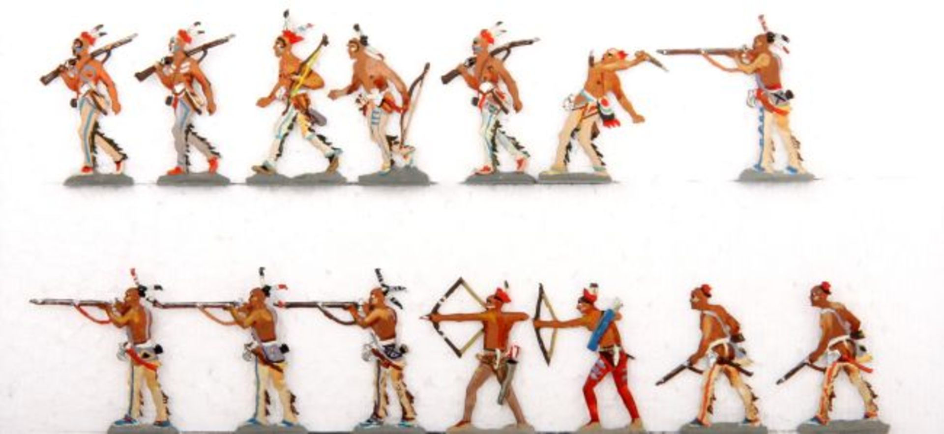 USA 18./19. Jahrhundert, Indianer, Huronen im Kampf, meist Loy, gute, schattierte Bemalung, 59 - Bild 2 aus 2
