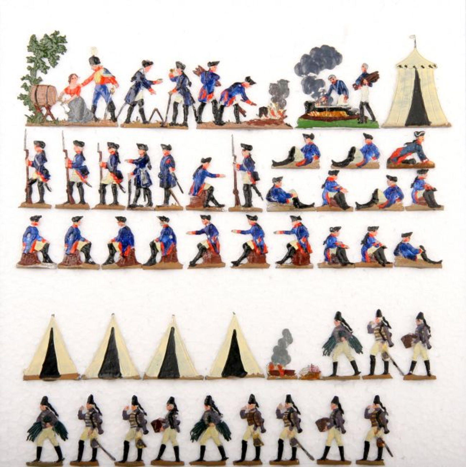 Preußen um 1760, Lagerleben (Musketiere und Husaren), Heinrichsen, Originalbemalung, 47 Figuren,