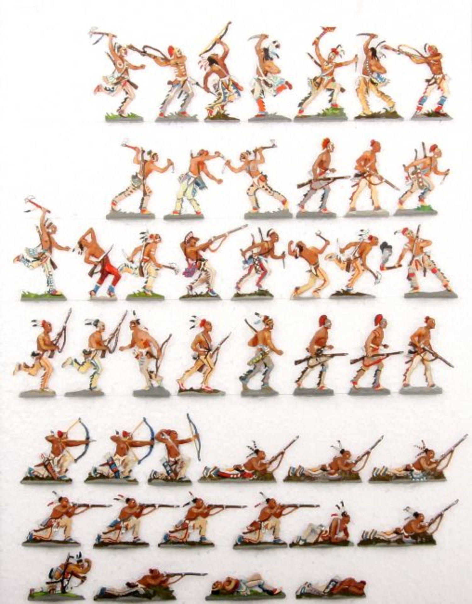 USA 18./19. Jahrhundert, Indianer, Huronen im Kampf, meist Loy, gute, schattierte Bemalung, 59