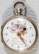 """Lot 5847 - Antike französische Spindeltaschenuhr der """"Voucher Feres"""", Werkno. 436. Um 1800/20. Silbergehäuse,"""
