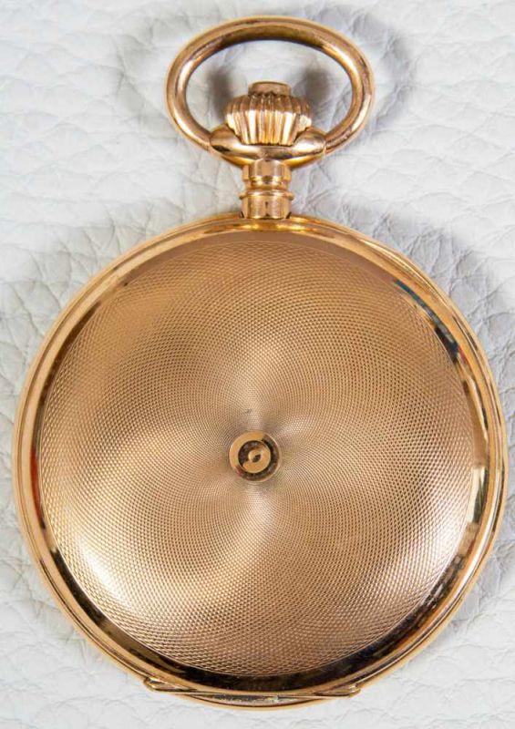 Lot 5801 - Große 585er/14K Gelbgold Sprungdeckel Herrentaschenuhr, brutto ca. 108 gr. Gehäusedurchmesser ca. 54