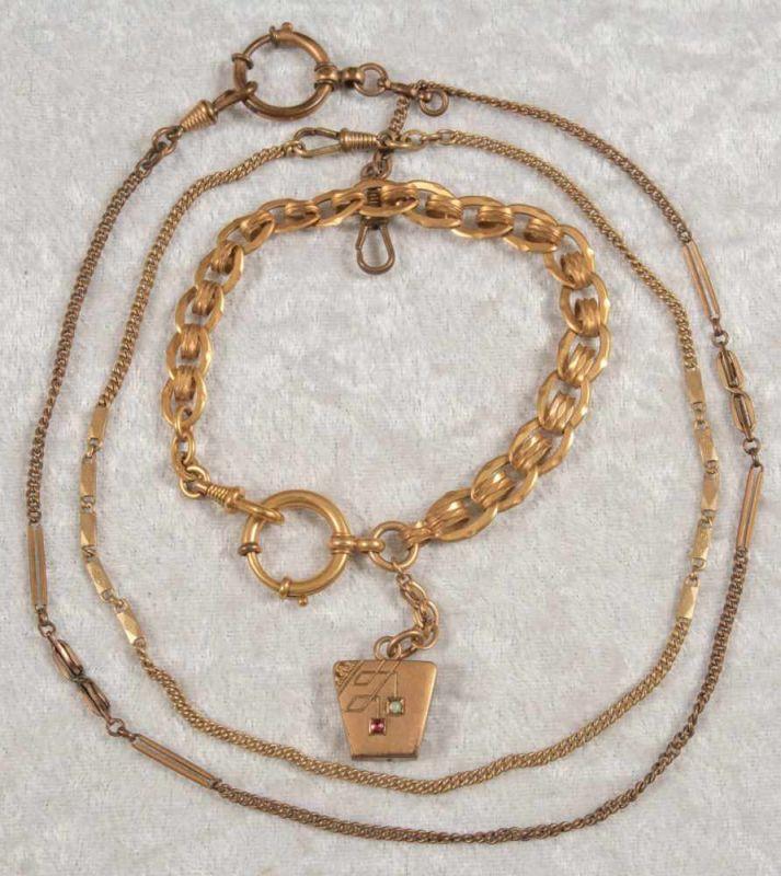Lot 5824 - 3versch. alte/antike, vergoldete Taschenuhrenketten. Versch. Alter, Längen & Erhalt.