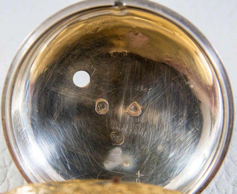 Lot 5851 - Schwere, englische Spindeltaschenuhr, Gehäuse & Übergehäuse in Silber, prächtige Werksplatine,