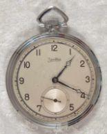 Lot 5829 - Zentra Halbsavonette Herrentaschenuhr, vernickeltes Gehäuse, Durchmesser ca. 50 mm, Werk ohne