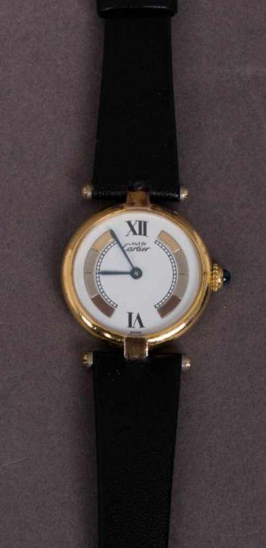 "Lot 5832 - ""CARTIER""-Damenarmbanduhr, Silber vergoldet, Quarzwerk, Ref. 590003, ca. 1980er/90er Jahre."