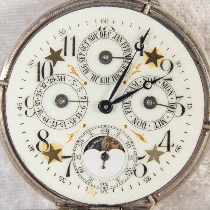Lot 5853 - Antike Herrentaschenuhr um 1900/20. 800er Silbergehäuse, teilvergoldet. Ziffernblatt mit Anzeigen