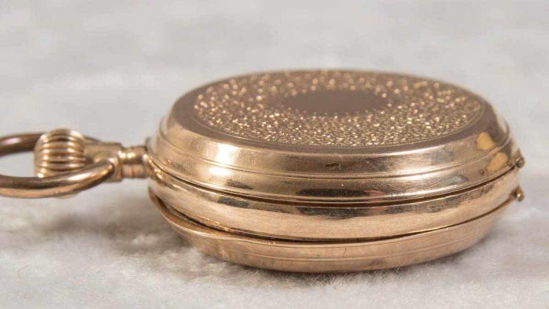 Lot 5841 - Goldene Savonette Damentaschenuhr, Gehäuse in 585er Gelbgold, ca. 28 gr. (brutto).