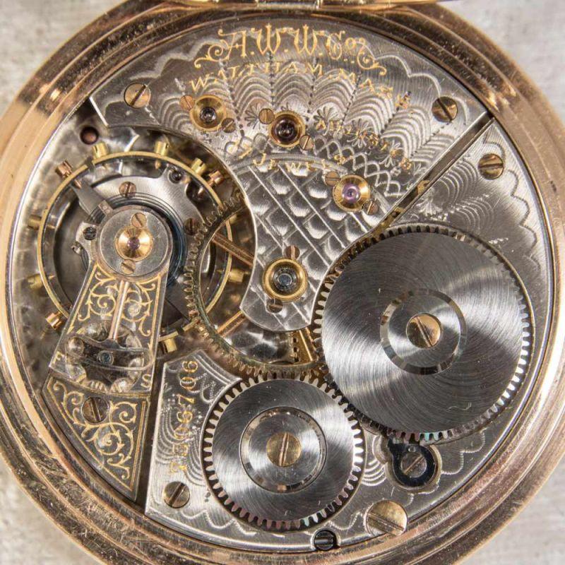 """Lot 5838 - """"WALTHAM"""", 585er Gelbgold Halbsavonette Herrentaschenuhr, Werksno. 7596706, Gehäuseno. 47644."""