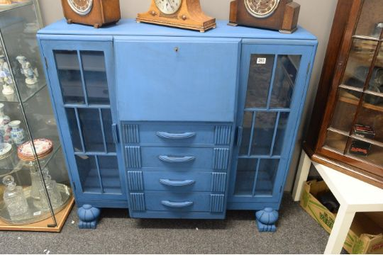 A Hand Painted Art Deco Bureau China Cabinet Finished In Blue And