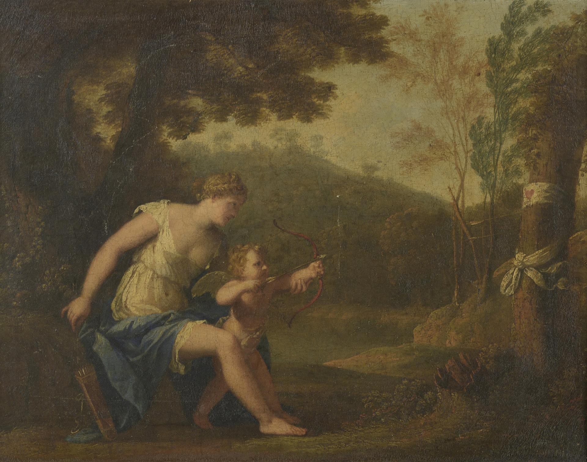 Lot 55 - École française XVIIIe siècle. Vénus éduquant Amour. Huile sur toile. - 37.5 x [...]
