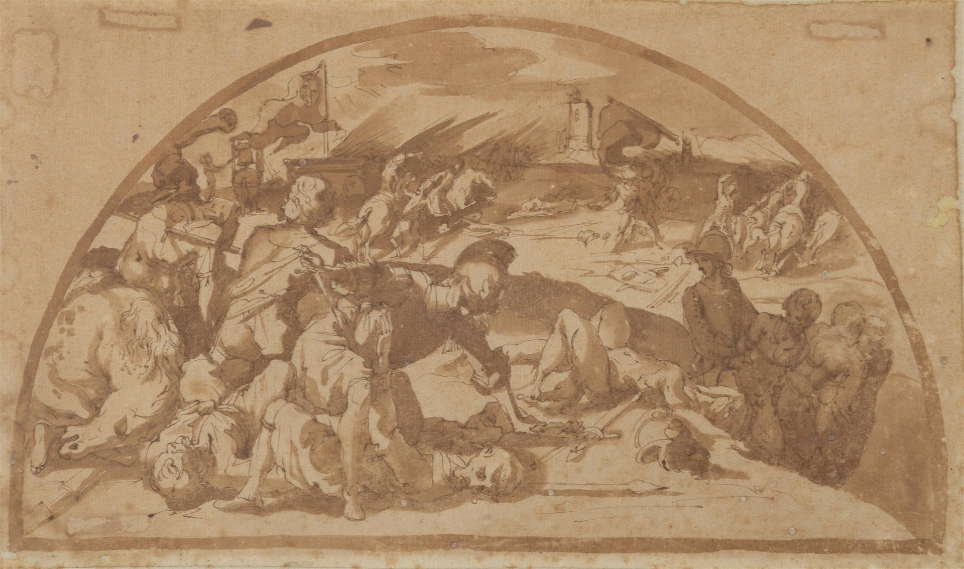Lot 41 - Atelier de Ventura SALIMBENI (1568-1613). La bataille de Montaperti ; Saint Bernard [...]