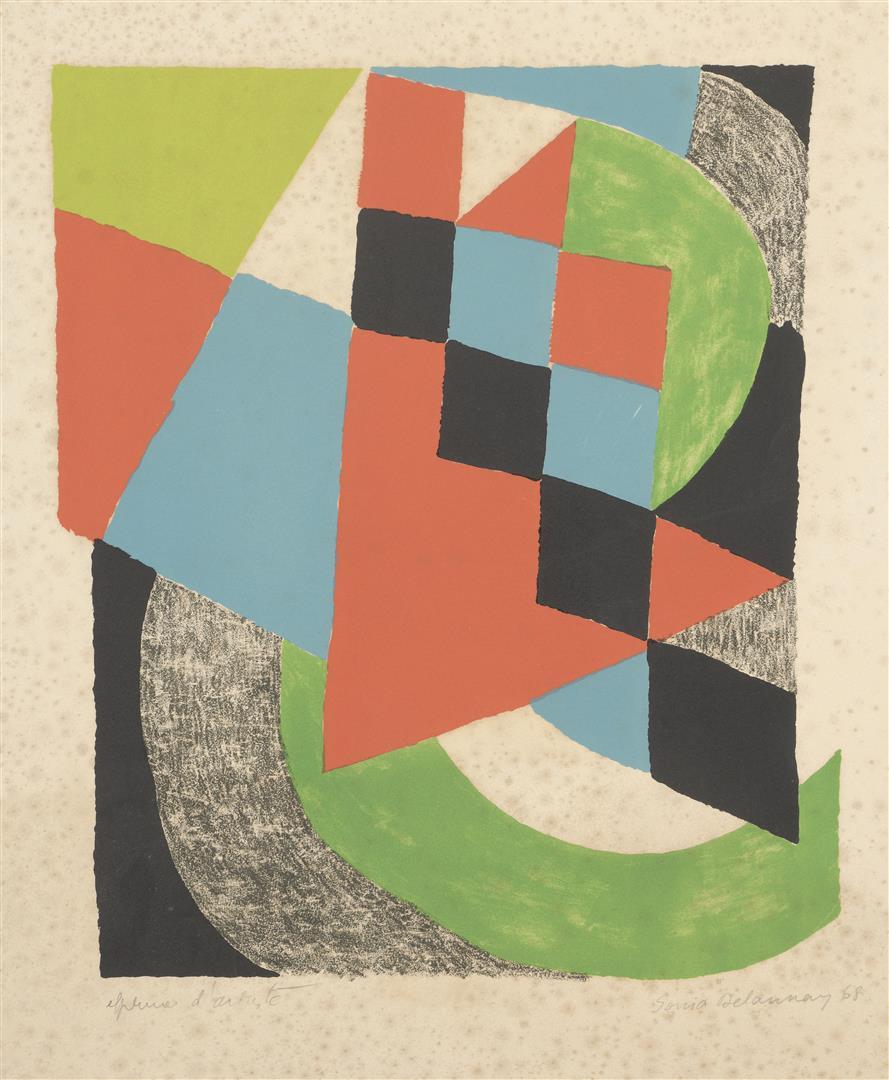 Lot 2 - Sonia DELAUNAY (1885-1979). Composition au damier. Lithographie en couleurs. Épreuve [...]