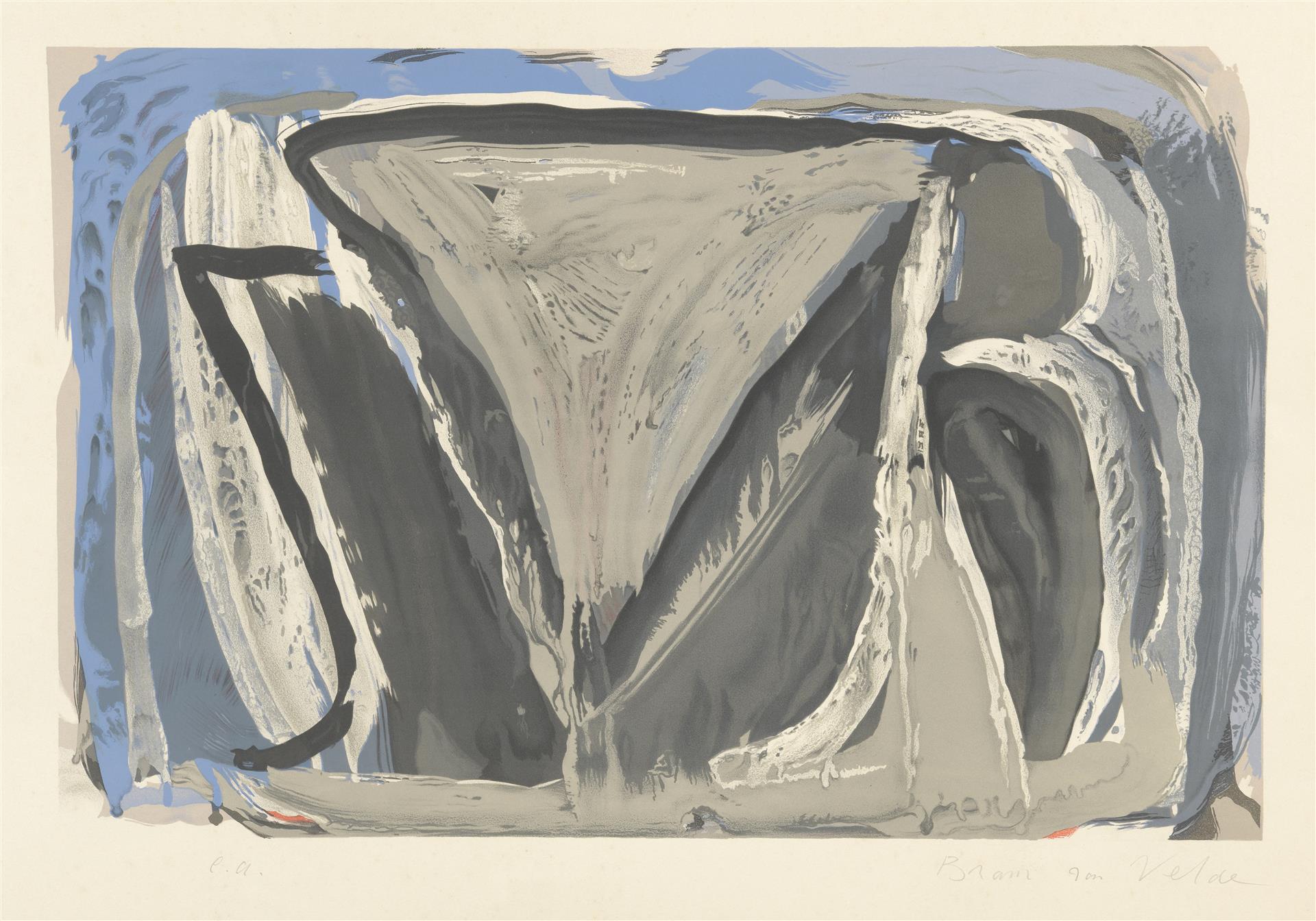 Lot 4 - BRAM VAN VELDE (1895-1981). Composition abstraite. Lithographie en couleurs. Épreuve [...]