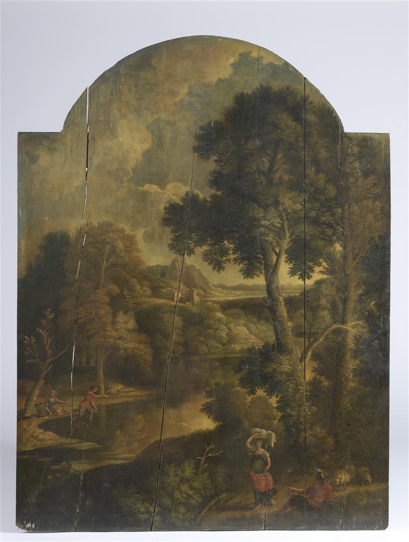 Lot 47 - École française du XVIIe siècle. Paysage montagneux et boisé animés de bergers ; [...]