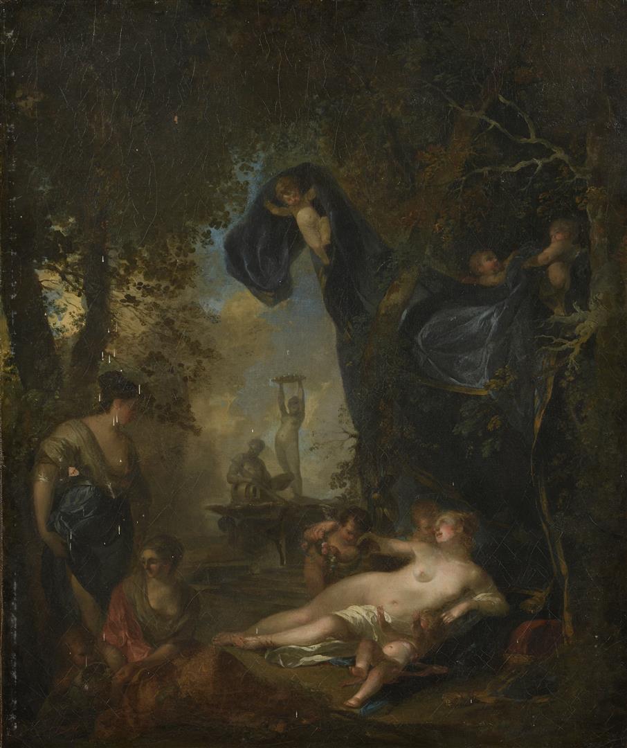 Lot 46 - Attribué à Jean Jacques SPOËDE (1680-1757). Jeunes femmes alanguies entourées de [...]