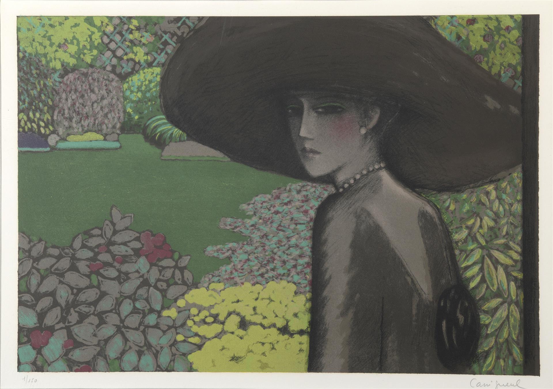 Lot 1 - Jean-Pierre CASSIGNEUL (1935). Le jardin silencieux ou femme au grand chapeau (1980). [...]