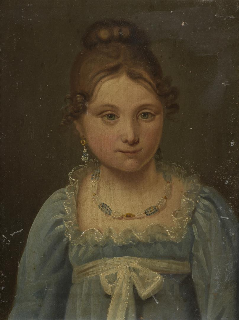 Lot 58 - École française fin XVIIIe siècle-début XIXe siècle. Portrait de jeune femme à [...]