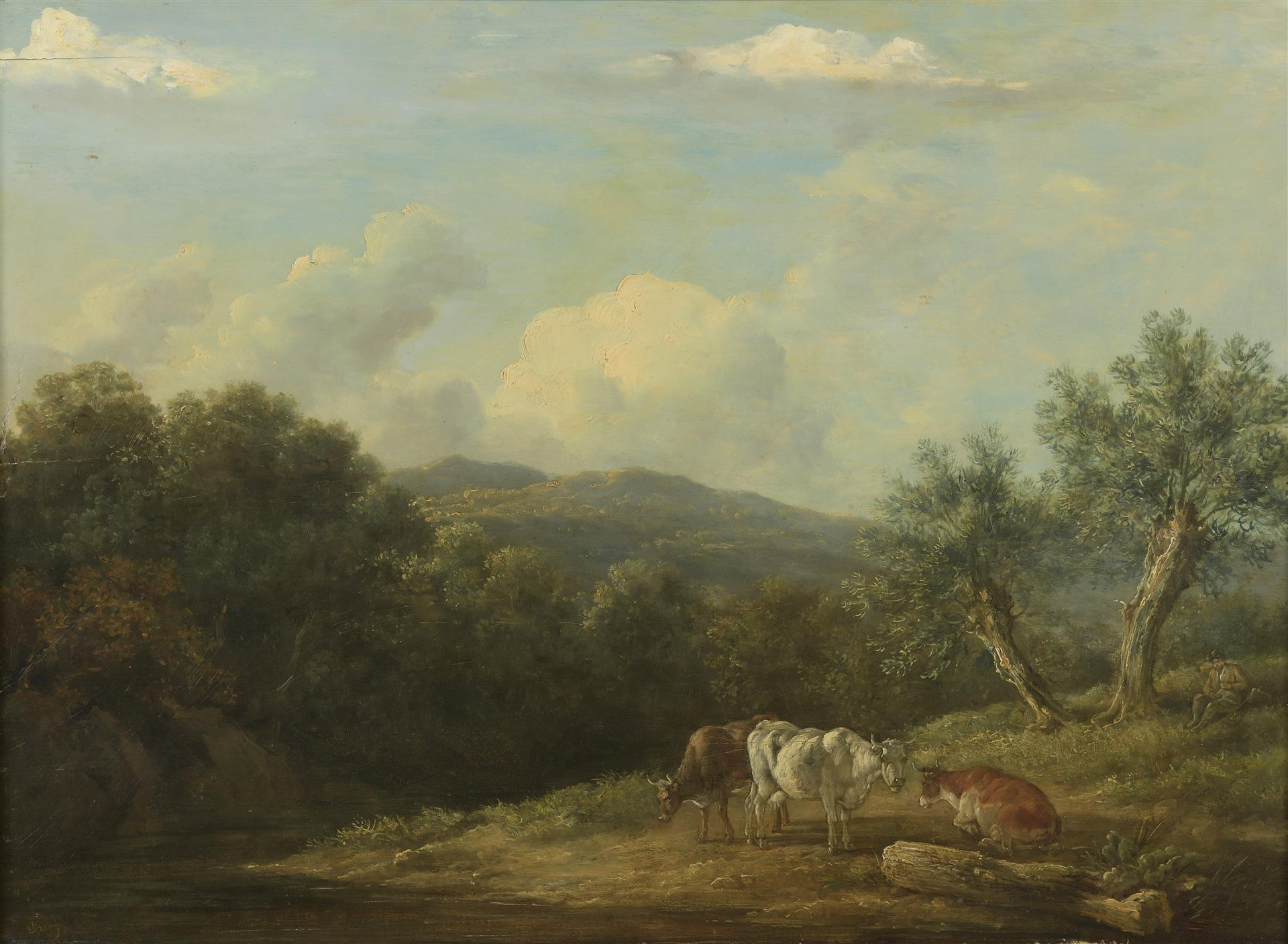 Lot 48 - École flamande fin XVIIIe-début XIXe siècle. Vaches. Huile sur panneau. 57,5 x 76 [...]