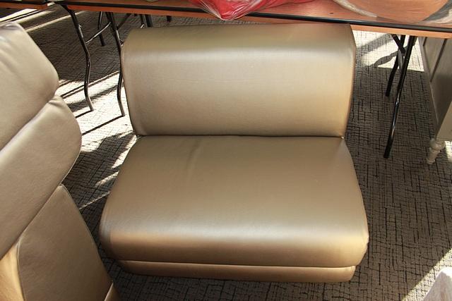Lot 453 - 3 x Lounge seat sofa single seater shiny gold leather 830mm x 730mm x 480