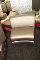 Lot 452 - 3 x Lounge seat sofa single seater shiny gold leather 830mm x 750mm x 480mm
