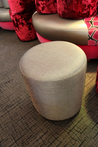 Lot 436 - 2 x Pouffe buffet shiny gold upholstered 390mm x 420mm