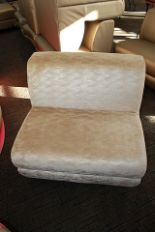 Lot 454 - 3 x Lounge seat sofa single seater gold upholstery 830mm x 730mm x 480