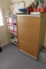 Lot 160 - A metal 2 door cabinet, single door metal cabinet, wooden tambour cabinet a four door metal filing