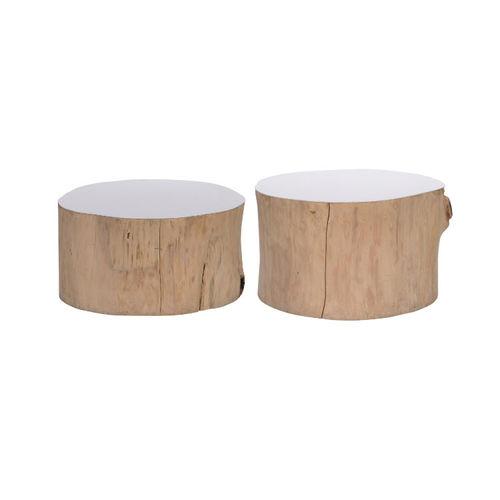 Lot 3187 - Bleu Nature F125 Ulat Drift Wood Table Random White 40 x 40 x 40cm
