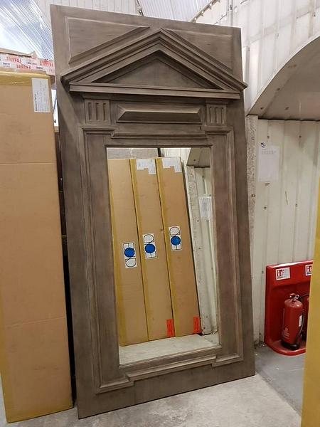 Lot 8 - Mirror - Andrew Martin Large Drift Wood Mirror A Large, Plinth Style, Rectangular Mirror With A