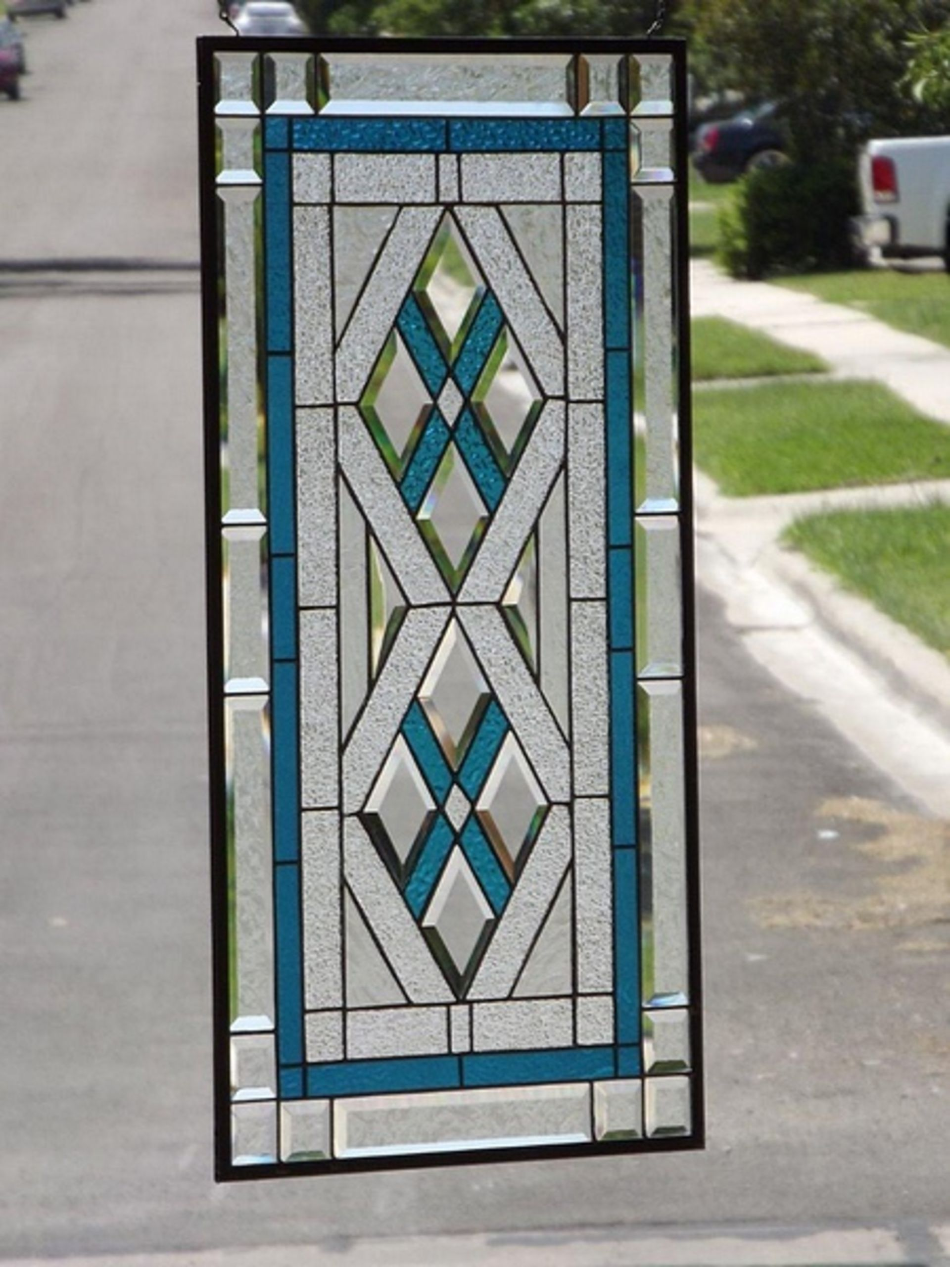 Lot 564 - Stained Glass - Mystique Bevelled Stained Glass Panel Handmade By Chris Gleim Line Art Glass And