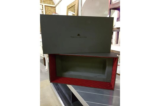 Lot 4 - Gift - A Luxury Panelled Gift Box With Lid Internally upholstered in Grey With Red Velvet 54 x 28