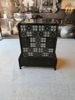 Lot 654 - Bureaus- Shellshock Baby Bureau By Boyd A Beautiful Black Lacquered Compact Bureau With A Shell