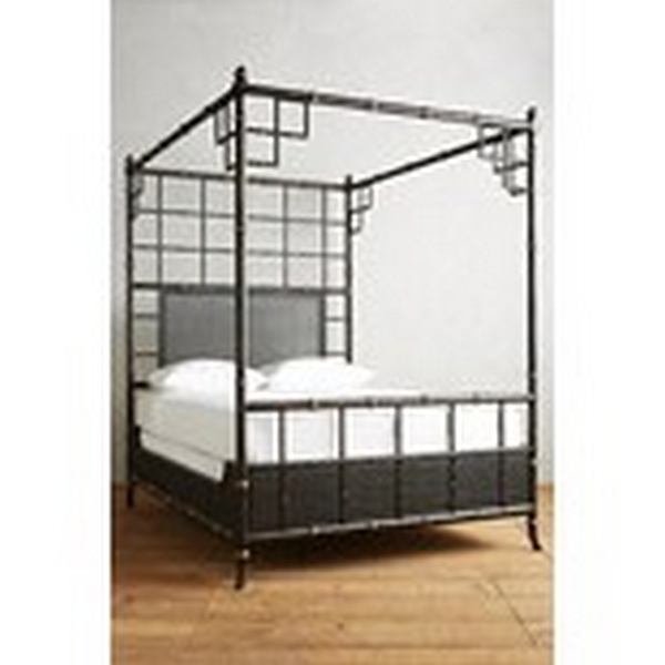 Lot 37 - Bed - Boyd Faux Bamboo 4 Poster Bed Black & Gold UK King (Mattress Not Supplied) The Incredible