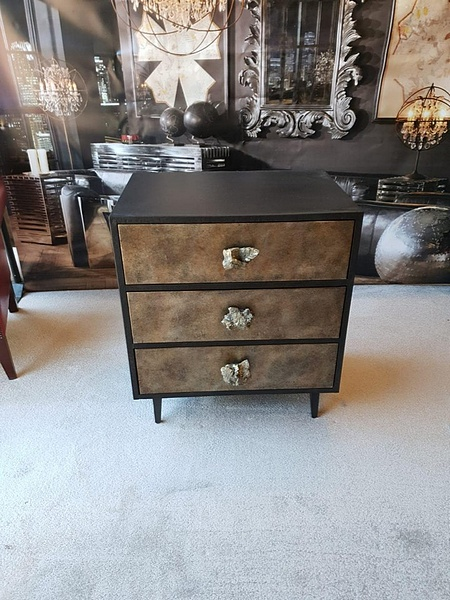Lot 21 - Chest- Andrew Martin Swanson A Stunning Three Drawer Chest With Textured Bronzed Finish And