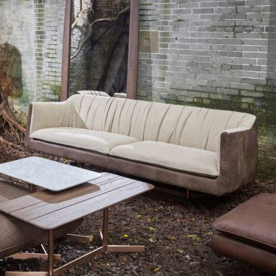 Lot 14 - Bleu Nature F318 Waki Sofa Seater Linen Ecru Inside Pawnee Tobacco Leather Outside Brushed Copper