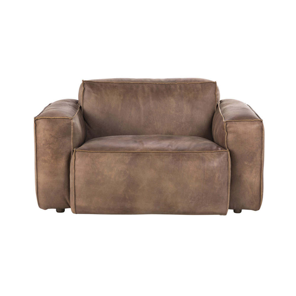 Lot 46 - Buddy Medium Sofa – 1 Seater Destroyed Raw Leather The Buddy Sofa Projects A Strong Presence
