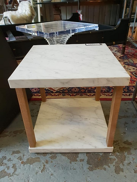 Lot 10 - Valencia Side Table Marble White Honed Top And Rustic Wood Frame 50 x 50 x 50 cm RRP £700