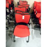 RED ROLLING FOLDING CHAIRS