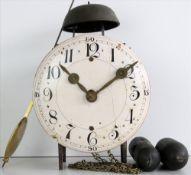 Stollenuhr Wohl Holland um 1800. Eisengehäuse mit Messingräderwerk und Emaillezifferblatt mit