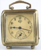 Lenzkircher Wecker Um 1912. Metallgehäuse. Messingräderwerk mit obenliegender Unruh. Größe ca. 8 x 6