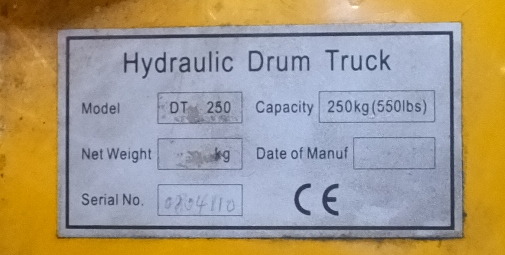 Lot 15 - Wilmat Hydraulic Drum LIfter model - DT 250 - capacity 250kg (550lbs) - missing 1 wheel